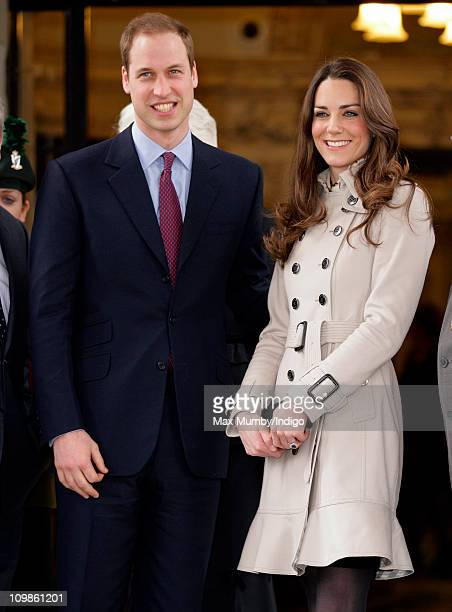Prince William and Kate Middleton stand on the steps of City Hall during a visit to Belfast on March 8 2011 in Belfast Northern Ireland
