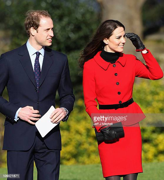 Prince William and Kate Middleton visit the University of St Andrews on February 25, 2011 in St Andrews, Scotland. The couple returned to the...
