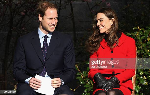 Prince William and Kate Middleton visit the University of St Andrews on February 25 2011 in St Andrews Scotland The couple returned to the University...