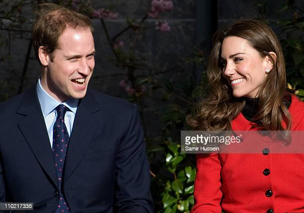 Prince William and Kate Middleton visit the University of St Andrews on February 25, 2011 in St Andrews, Scotland.