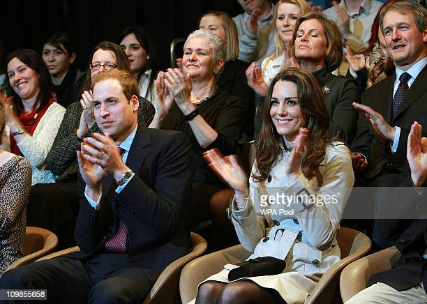 Prince William and Kate Middleton watch a play at the Youth Action Northern Ireland centre in Belfast The couple watched a short play and met some of...