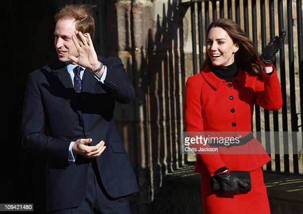 Prince William and Kate Middleton wave as they visit the University of St Andrews on February 25 2011 in St Andrews Scotland The couple returned to...