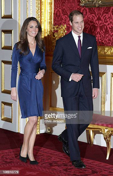 Prince William and Kate Middletonarrive to pose for photographs in the State Apartments of St James Palace on November 16 2010 in London England...