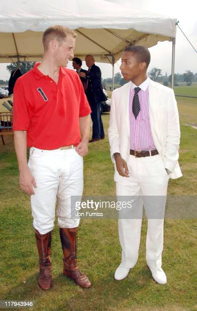 HRH Prince William and Pharrell Williams during The Audi Polo Challenge Cup July 5 2006 at Cowdray Park in Midhurst Great Britain