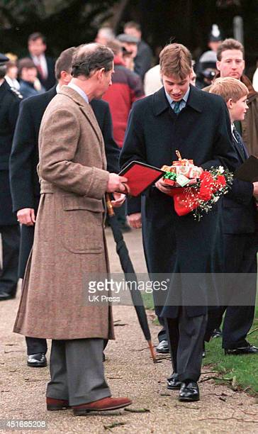 KINGDOM DECEMBER 25 Prince William and Prince Charles attend the annual Christmas Day service at Sandringham Church on December 25 1997 in...