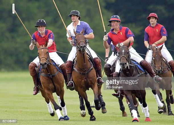 Prince William And Prince Charles In A Polo Match At Cirencester Park Polo Club Where He Played For The Highgrove Team