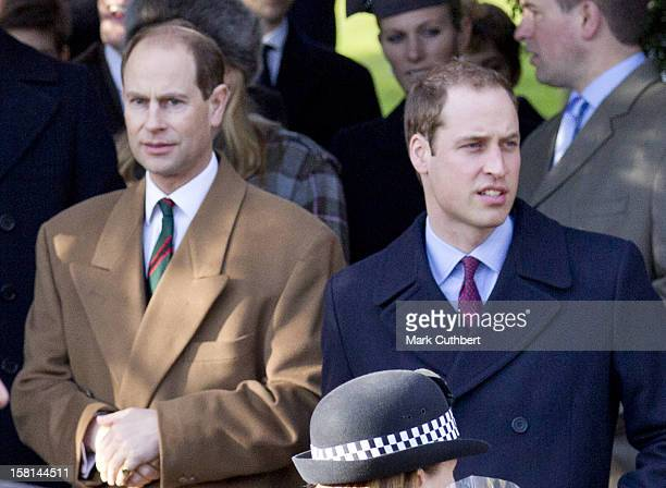 Prince William And Prince Edward Attend St Mary Magdalene Church On The Royal Estate In Sandringham Norfolk For The Christmas Day Church Service