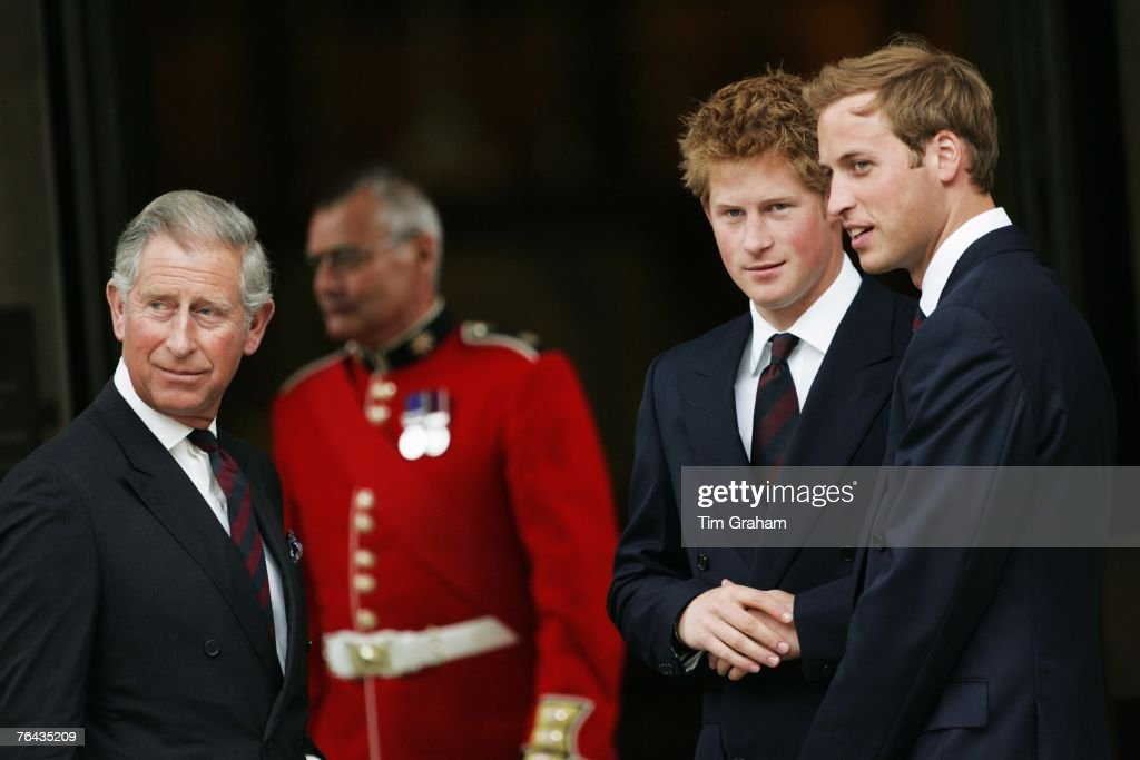 Prince William and Prince Harry and their father Prince Charles, Prince of Wales attend the 10th Anniversary Memorial Service For Diana, Princess of Wales at Guards Chapel at Wellington Barracks on August 31, 2007 in London, England.