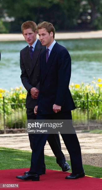 Prince William and Prince Harry arrive at the opening of a fountain built in memory of Diana Princess of Wales on July 6 2004 in Hyde Park London...