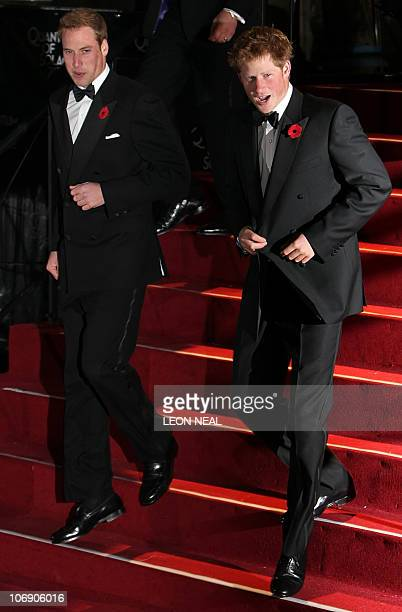 Prince William and Prince Harry arrive at the world premiere of the new James Bond film 'Quantum of Solace' at the Odeon cinema in Leicester Sqaure...