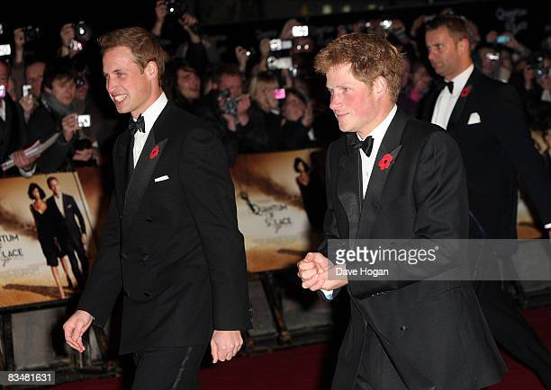Prince William and Prince Harry arrive for the Royal World Premiere of the new James Bond 007 film 'Quantum of Solace' at the Odeon, Leicester...