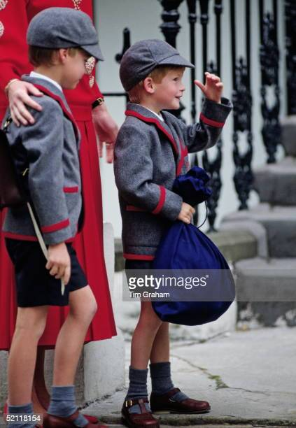 Prince William And Prince Harry Arriving At Wetherby School With Their Mother Princess Diana For Their First Day At Their New School