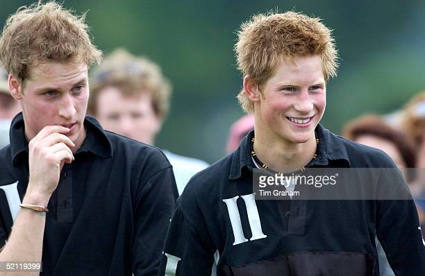Prince William And Prince Harry At Beaufort Polo Club Playing For The Mercedesamg Team Without The Commercial Logo On Their Shirts