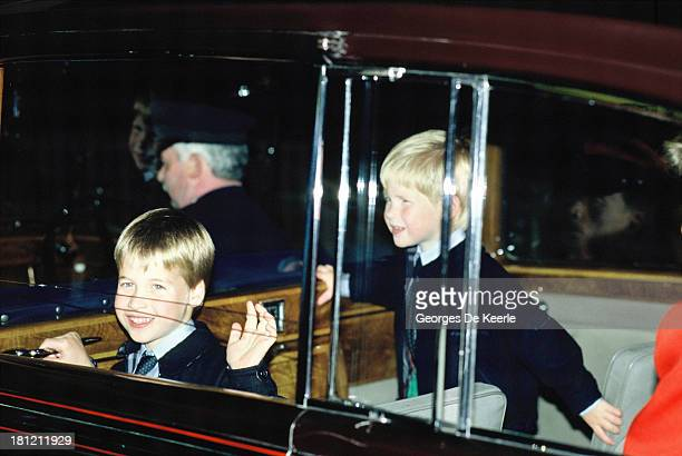 Prince William and Prince Harry at the Royal Tournament in Earls Court on July 28 1988 in London England