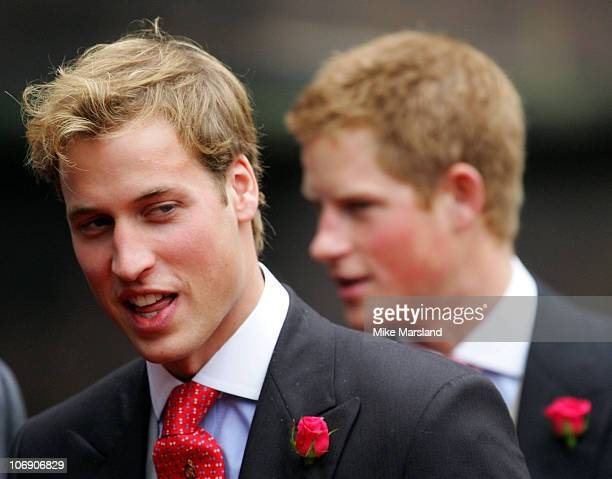 Prince William and Prince Harry at the wedding of Lady Tamara the eldest daughter of The Duke and Duchess of Westminster and Edward van Cutsem at...