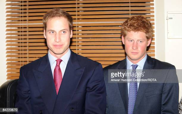 Prince William and Prince Harry attend a reception to mark the launch of the Henry Van Straubenzee Memorial Fund on January 8 2009 in London England...