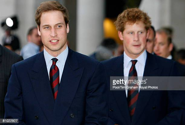 Prince William and Prince Harry attend 'City Salute' a sunset pageant to celebrate and support British service personnel and their families outside...