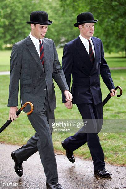 Prince William and Prince Harry attend the Cavalry Old Comrades Association Annual Parade in Hyde Park on May 13 2007 in London England This is the...