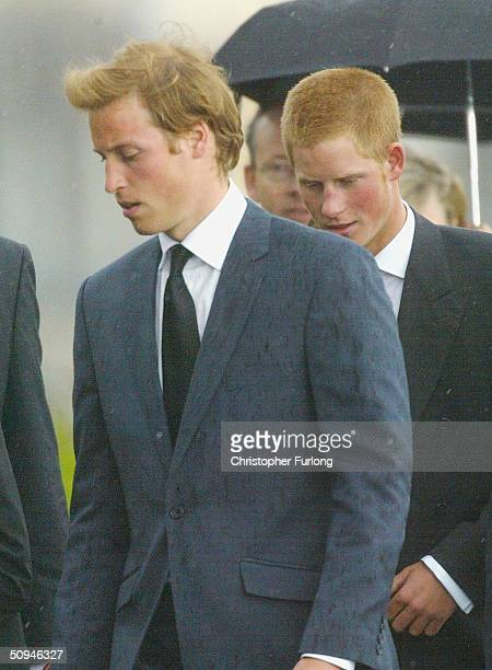 Prince William and Prince Harry attend the funeral of Princess Diana's mother Frances Shand Kydd at the Cathedral of Saint Columba on June 10 2004 in...