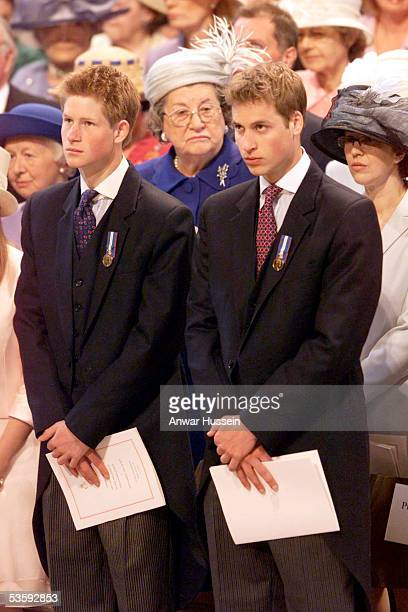Prince William and Prince Harry attend the service in celebration of the Queen's Golden Jubilee at St Paul's Cathedral on June 4 2002 in London...