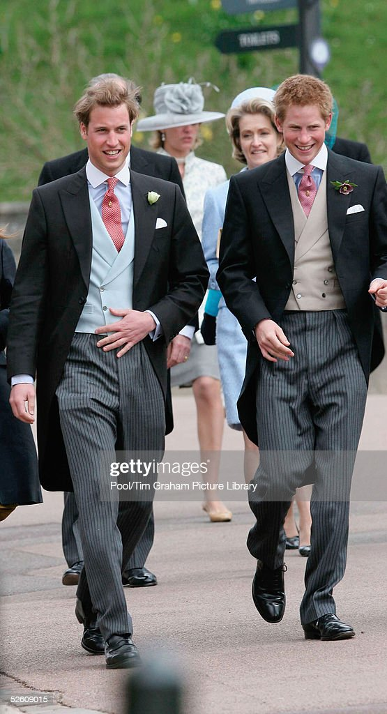 Prince William and Prince Harry attend the Service of Prayer and Dedication blessing the marriage of TRH the Prince of Wales and The Duchess Of Cornwall, Camilla Parker Bowles at The Guildhall, at Windsor Castle on April 9, 2005 in Berkshire, England.