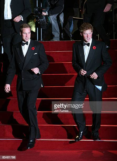 Prince William and Prince Harry attend the world premiere of 'Quantum of Solace' at Odeon Leicester Square on October 29 2008 in London England