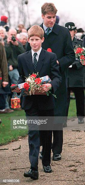 KINGDOM DECEMBER 25 Prince William and Prince Harry attends the annual Christmas Day service at Sandringham Church on December 25 1997 in Sandringham...