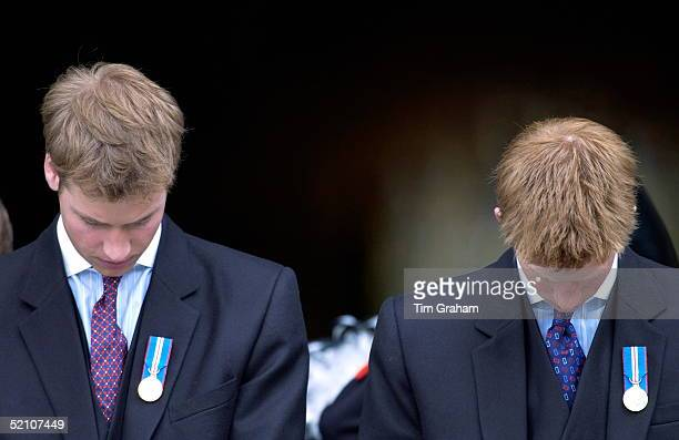 Prince William And Prince Harry Bowing Their Heads Outside St Paul's Cathedral As A Mark Of Respect To Their Grandmother The Queen As She Leaves...