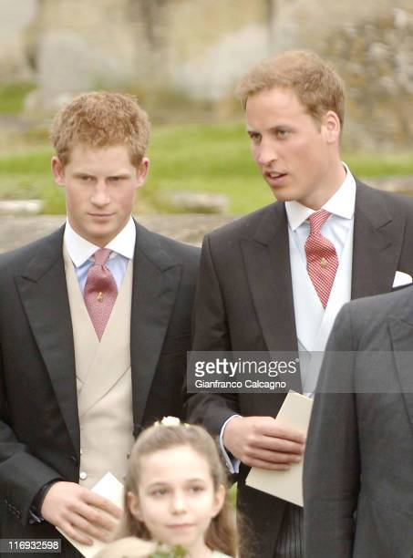 Prince William and Prince Harry during Laura Parker Bowles and Harry Lopes Wedding Outside Arrivals at St Cyriac's Church in Lacock Great Britain