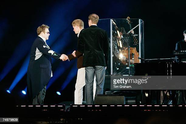 Prince William and Prince Harry end the show by saying thanks to Sir Elton John and all who took part in the 'Concert for Diana' at Wembley Stadium...
