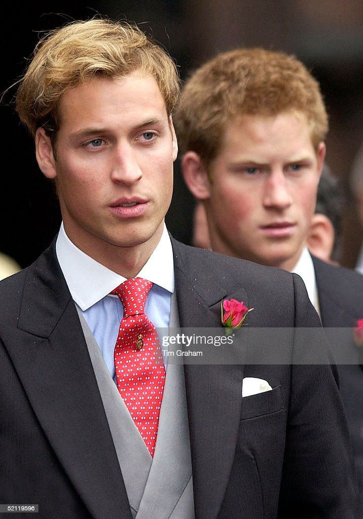 Prince William And Prince Harry In Morning Suits As Ushers At Edward Van Cutsem And Lady Tamara Grosvenor's Wedding At Chester Cathedral