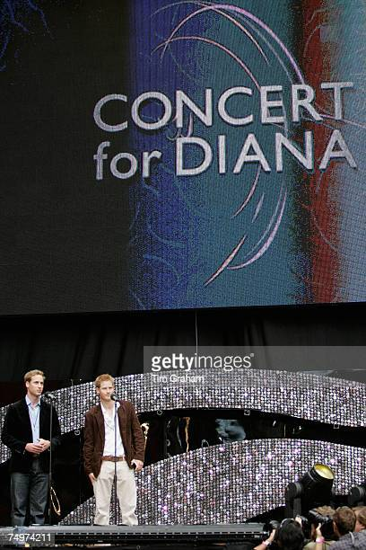 Prince William and Prince Harry introduce the 'Concert for Diana' at Wembley Stadium which the Princes organised to celebrate the life of their...