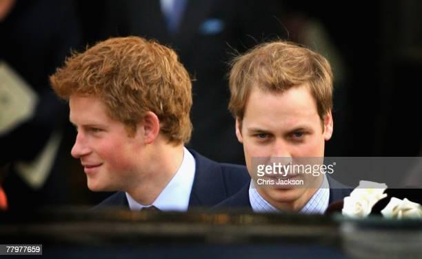Prince William and Prince Harry leave HRH Queen Elizabeth II and Prince Phillip The Duke of Edinburgh's 60th Diamond Wedding Anniversary celebration...