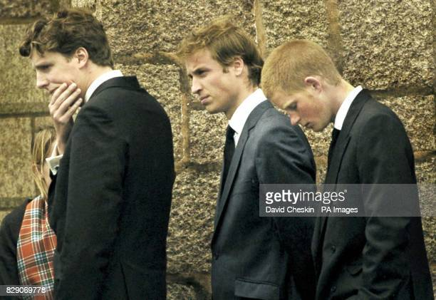 Prince William and Prince Harry leave the funeral of their grandmother Frances Shand Kydd which was held in St Columba's Cathedral Oban Scotland