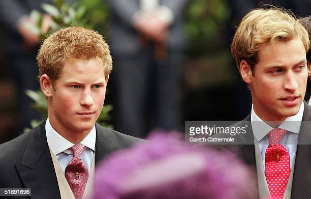 Prince William and Prince Harry leave the wedding of Lady Tamara Grovesnor and Edward Van Cutsem on November 6 2004 in Chester England Lady Tamara is...