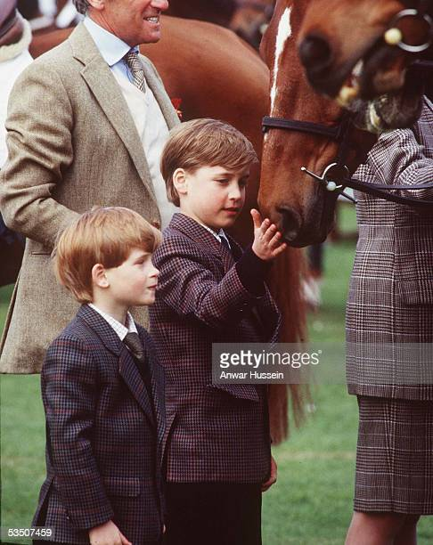 Prince William and Prince Harry pat a horse when the visit the Badminton Horse Trials in May 1991 in Badminton England