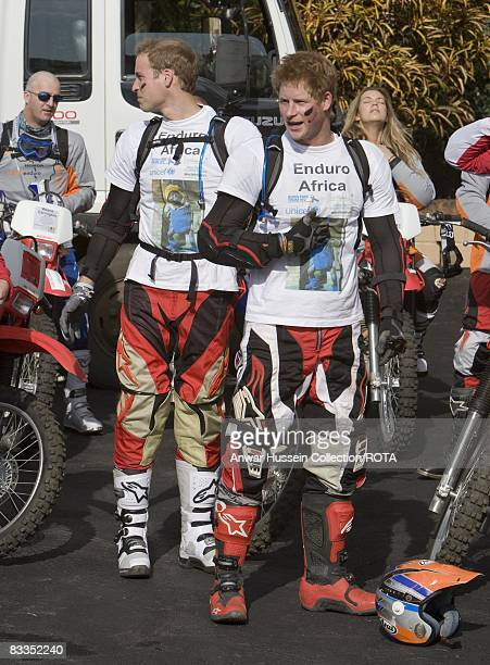 Prince William and Prince Harry prepare to set off at the start of the Enduro 2008 Motorcycle Rally to benefit UNICEF the Nelson Mandela Children's...