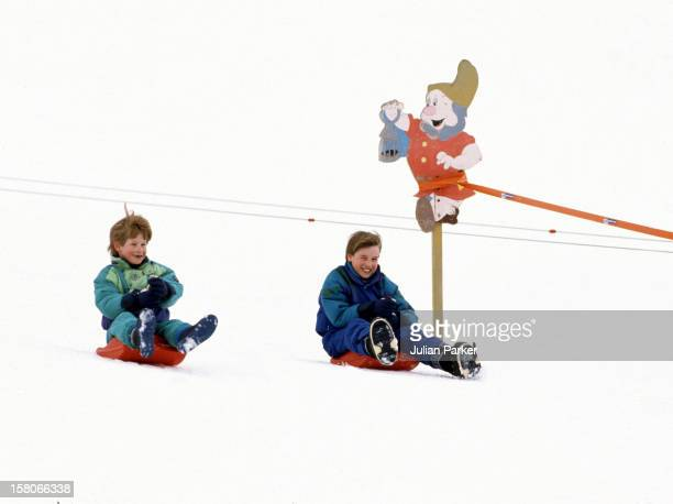 Prince William And Prince Harry Sledging In Lech Austria On An Annual Ski Holiday With Their Mother The Princess Of Wales