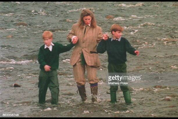 Prince William and Prince Harry spend the weekend at Balmoral on this image with their childminder Alexandra Legge Bourke