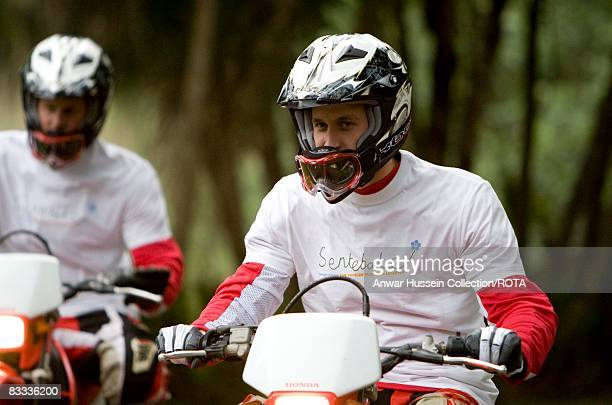 Prince William and Prince Harry take part in a practice session for the Enduro 2008 Motorcycle Rally to benefit UNICEF the Nelson Mandela Children's...