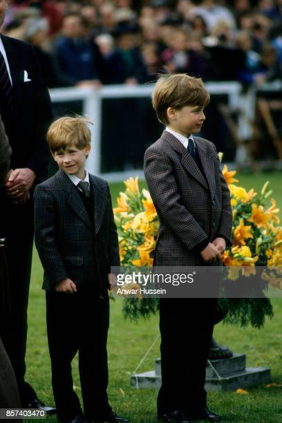 Prince William and Prince Harry visit the Badminton Horse Trials on May 10 1991 in London England