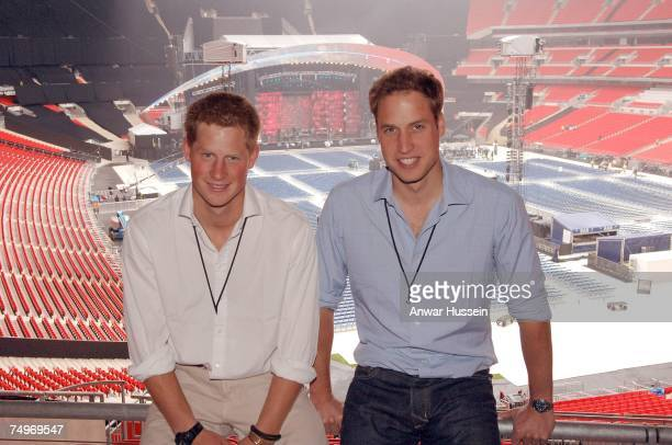 Prince William and Prince Harry visit Wembley Stadium to check out final preparations prior to the Concert for Diana on June 30 2007 in London England