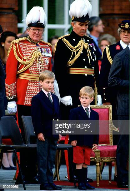 Prince William And Prince Harry Watching The Beating Retreat Parade At The Orangery, Kensington Palace.