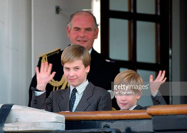Prince William And Prince Harry Waving From On Board Hmy Britannia As They Arrive One Day Ahead Of Their Parents For Their First Visit To Canada.