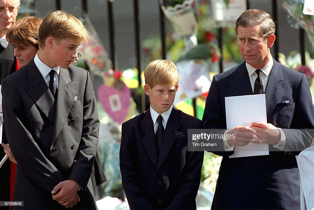 Prince William And Prince Harry With Prince Charles Holding A Funeral Programme At Westminster Abbey For The Funeral Of Diana, Princess Of Wales