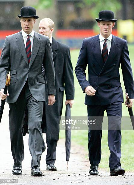 Prince William and Prince Harry with regimental ties and traditional bowler hats attend the Combined Cavalry Old Comrades Association parade in Hyde...