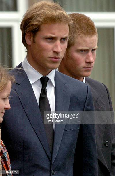 Prince William and Prince Harry with their cousin Laura Fellowes at the funeral of their grandmother Frances ShandKydd at St Columba's Cathedral