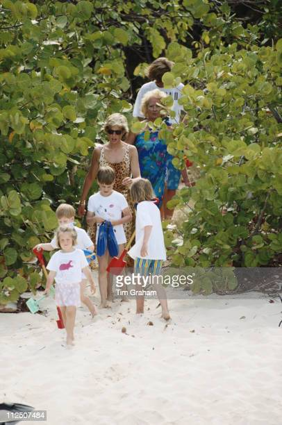 Prince William and Prince Harry with their cousins their mother Diana Princess of Wales and their grandmother Frances Shand Kydd on the beach of...