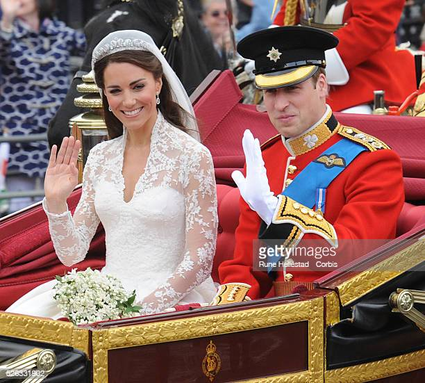 Prince William and Princess Catherine in the procession after their Royal wedding at Westminster Abbey .