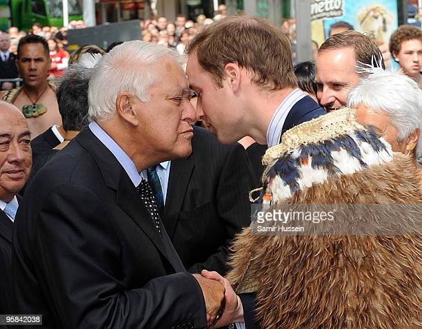 Prince William and Sir Paul Reeves Former Governor General greet in the traditional Maori way as the Prince arrives to open the Supreme Court on the...